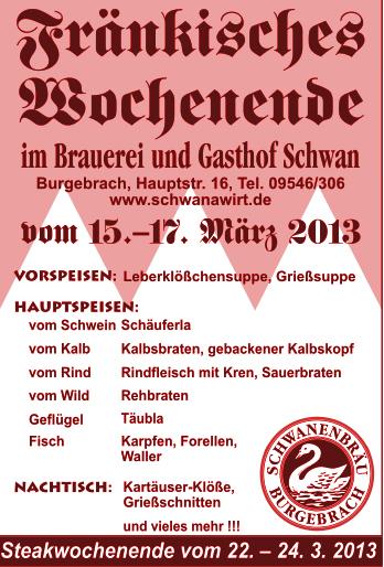 Fränkisches Wochenende Brauerei Gasthof Schwan Burgebrach