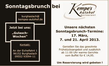 Kempes Autohof Sonntagsbrunch Burghaslach