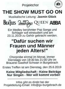 Burgebracher Projektchor Sänger Konzert 2019 Franken